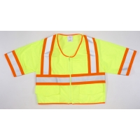 High Visibility ANSI Class 3 Solid Vest with Pocket and 4' Orange/Silver/Orange Reflective Tape, 4X-Large, Lime