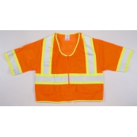 16393-2, High Visibility ANSI Class 3 Mesh Safety Vest with Zipper Closure and Pouch Pockets, Medium, Orange, Mega Safety Mart