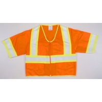 16394-3, High Visibility ANSI Class 3 Solid Safety Vest with Zipper Closure and Pouch Pockets, Large, 4 in, Orange, Mega Safety Mart