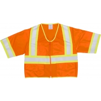 High Visibility ANSI Class 3 Solid Safety Vest with Zipper Closure and Pouch Pockets, X-Large, 4 in, Orange