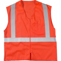 17005-45-7, High Visibility ANSI Class 2 Mesh Safety Vest with Zipper Closure and Pockets, 4X-Large/5X-Large, Orange, Mega Safety Mart