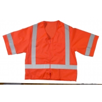 High Visibility ANSI Class 3 Mesh Safety Vest with Zipper Closure and Pockets, 4X-Large/5X-Large, Orange