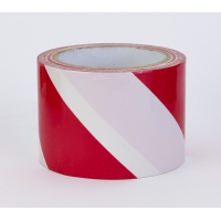PVC Vinyl Hazard Stripe Tape, 7 mil, 3' x 18 yd., White/Red Stripe (Pack of 16)