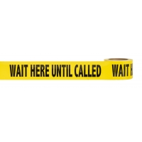 Social Distancing Warning Vinyl Floor Tape - WAIT HERE UNTIL CALLED - 3' x 36 yds - Black/Yellow