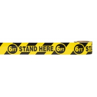 17770-9141-3366, Social Distancing Warning Vinyl Floor Tape - 6FT STAND HERE 6FT - 3 x 36 yds - Black/Yellow, Mega Safety Mart