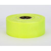 Vinyl Coated Nylon Reinforced Fluorescent Barricade Tape, 2' x 50 yd., Glo Lime (Pack of 5)