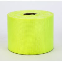 Vinyl Coated Nylon Reinforced Fluorescent Barricade Tape, 4' x 50 yd., Glo Lime (Pack of 4)