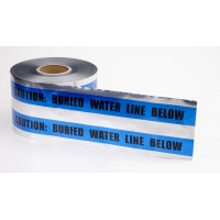 Polyethylene Underground Water Line Detectable Marking Tape, 1000' Length x 6' Width, Blue