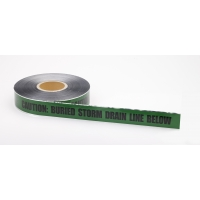 Polyethylene Underground Storm Drain Detectable Marking Tape, 1000' Length x 2' Width, Green