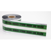 Polyethylene Underground Storm Drain Detectable Marking Tape, 1000' Length x 6' Width, Green