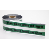 Polyethylene Underground Sewer Line Detectable Marking Tape, 1000' Length x 6' Width, Green