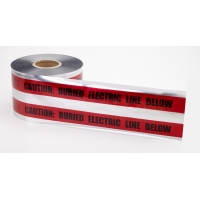 Polyethylene Underground Electric Line Detectable Marking Tape, 1000' Length x 6' Width, Red
