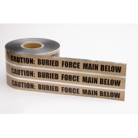 Polyethylene Underground Force Main Detectable Marking Tape, 1000' Length x 6' Width, Brown