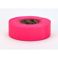 PVC TUNDRA Flagging Tape, 5 mil, 1-3/16' x 50 yd., Glo Pink (Pack of 12)