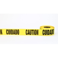 3Mil Barricade Tape, 'Cuidado Caution', 3' x 1000', Yellow (Pack of 10)