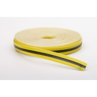 Woven Barricade Tape, 50 yds Length X 3/4' Width, Black on Yellow
