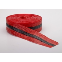 Woven Barricade Tape, 50 yds Length X 2' Width, Black on Red