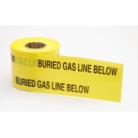 Polyethylene Non Detectable Underground Gas Line Marking Tape, 4.5 mil Thickness, 1000' Length x 6' Width, Yellow