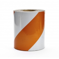 Engineering Grade Reflective Barricade Adhesive Tape, 50 yds Length x 12' Width, Orange/White