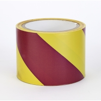Polypropylene Laminated 'Super Tuff' Hazard Stripe Tape, 4' x 18 yd., Yellow/Magenta Stripe (Pack of 4)