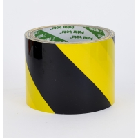 Polypropylene Laminated 'Super Tuff' Hazard Stripe Tape, 4' x 18 yd., Yellow/Black Stripe (Pack of 4)