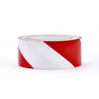 Polypropylene Laminated 'Super Tuff' Hazard Stripe Tape, 2' x 18 yd., Red/White Stripe (Pack of 4)