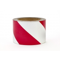 Polypropylene Laminated 'Super Tuff' Hazard Stripe Tape, 4' x 18 yd., Red/White Stripe (Pack of 4)