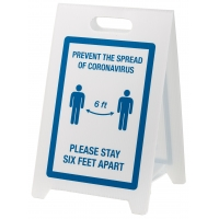 Social Distancing Floor Signs - PREVENT THE SPREAD - STAY 6FT APART - Blue/White
