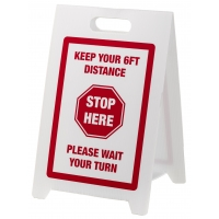 Social Distancing Floor Signs - KEEP YOUR 6FT DISTANCE - STOP HERE - Red/White