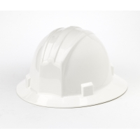 Polyethylene Ratchet Suspension Full Brim Hard Hat, White