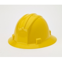 Polyethylene Ratchet Suspension Full Brim Hard Hat, Yellow