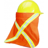65400-100, High Visibility Nape Protector with 1/2 Lime/Silver/Lime Reflective Tape, 13-1/2 Length x 13 Width, Orange, Mega Safety Mart