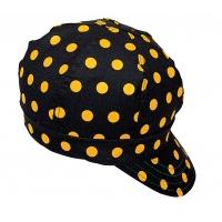 7324-0-0, Kromer Welder Cap, Cotton, Length 5 in, Width 6 in- 1size, Black/Yellow Dot, Mega Safety Mart