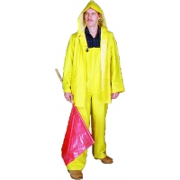 M14505-0-3, PVC/Polyester 3 Piece Rainsuit, 0.35 mm, Large, Mega Safety Mart