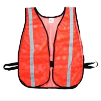 High Visibility Vinyl Coated Nylon Mesh Heavy Weight Safety Vest with 1-3/8' Silver Reflective Stripe, Orange