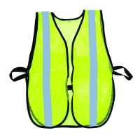 High Visibility Soft Mesh Safety Vest with 1' Vertical Silver Reflective Stripe, Lime