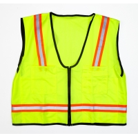 MiViz High Visibility Mesh Back Surveyor Vest With Pocket, Lime, Large