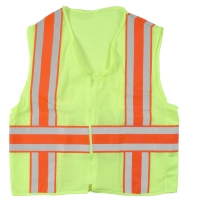 High Visibility Polyester ANSI Class 2 Deluxe Dot Mesh Safety Vest with Pockets, Large, Lime