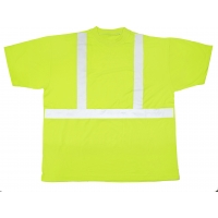 High Visibility Polyester ANSI Class 2 Safety Tee Shirt with 2' Reflective Silver Stripes, Large, Lime