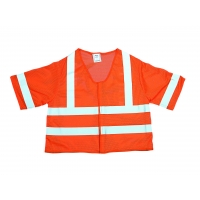 M16362-7, High Visibility Polyester ANSI Class 3 Mesh Safety Vest with 2 Silver Reflective Stripes, 4X-Large, Orange, Mega Safety Mart