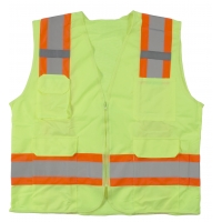 High Visibility Polyester ANSI Class 2 Surveyor Safety Vest with Pouch Pockets and 4' Lime/Silver/Lime Reflective Tape, Medium, Orange