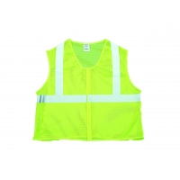 High Visibility ANSI Class 2 Mesh Safety Vest with 2' Silver Reflective Tape, Large, Lime