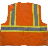 High Visibility Polyester ANSI Class 2 Mesh Tearaway Safety Vest with Pockets and 4' Lime/Silver/Lime Reflective Tape, Large, Orange
