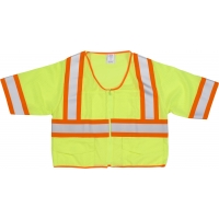 M16391-5, High Visibility ANSI Class 3 Mesh Vest with 4 Orange/Silver/Orange Reflective Tape, 2X-Large, Lime, Mega Safety Mart