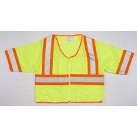 High Visibility ANSI Class 3 Mesh Vest with 4' Orange/Silver/Orange Reflective Tape, 4X-Large, Lime