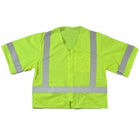 M17110-139-3, High Visibility ANSI Class 3 Mesh Safety Vest with Zipper Closure and Pockets, Large/X-Large, Lime, Mega Safety Mart