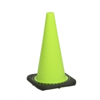Traffic Cone with 3 lbs Plain Finish, 18' Height, Lime