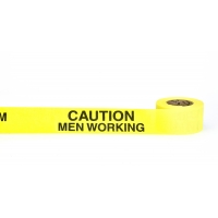 Repulpable Tape, 'Caution Men Working Overhead', 2' x 45 YDS, Yellow