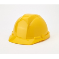 Polyethylene 4-Point Ratchet Suspension Hard Hat, Yellow