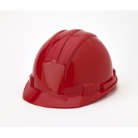 Polyethylene 4-Point Ratchet Suspension Hard Hat, Red